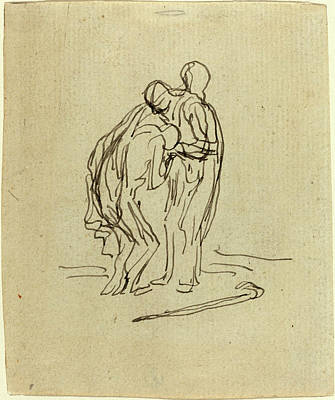Wash Drawing - Honoré Daumier, French 1808-1879, The Prodigal Son by Litz Collection