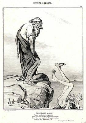 Honoré Daumier French, 1808 - 1879. Télémaque Et Mentor Art Print by Litz Collection