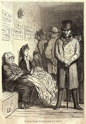 Honoré Daumier French, 1808 - 1879. Un Bureau Dattente Art Print by Litz Collection