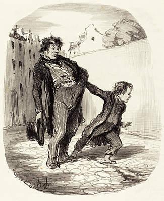 Mod Drawing - Honoré Daumier French, 1808 - 1879, Un Fils Modèle by Quint Lox
