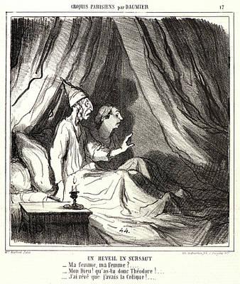 Honoré Daumier French, 1808 - 1879. Un Réveil En Sursaut Art Print