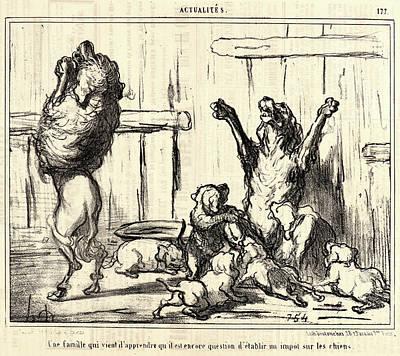 Est 1855 Drawing - Honoré Daumier French, 1808 - 1879. Une Famille Qui Vient by Litz Collection