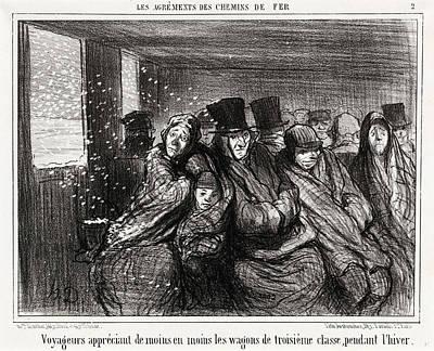 Classe Drawing - Honoré Daumier, Voyageurs Appréciant De Moins En Moins by Litz Collection