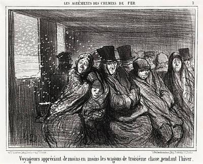 Classe Drawing - Honoré Daumier, Voyageurs Appréciant De Moins En Moins by Quint Lox