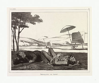 Honore Daumier, 1808 1879, Paysagistes Au Travail Art Print by English School