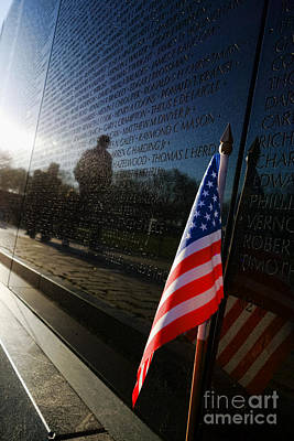 Vietnam Veterans Memorial Wall Photograph - Honoring by Olivier Le Queinec