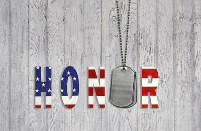 Wood Necklace Mixed Media - Honoring Our Military by Maria Dryfhout