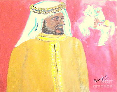 Painting - Honoring Sheikh Mohammed Bin Rashid Al Maktoum Constitutional Monarch Of Dubai 1 by Richard W Linford