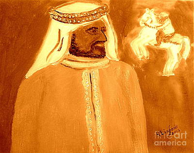 Painting - Honoring Sheikh Mohammed Bin Rashid Al Maktoum Constitutional Monarch Of Dubai 2 by Richard W Linford