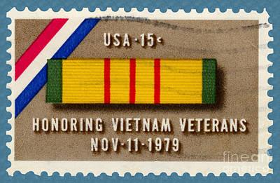 Honoring Vietnam Veterans Service Medal Postage Stamp Art Print
