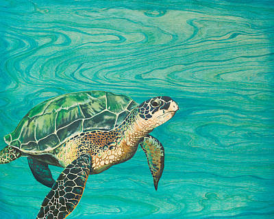 Scuba Painting - Honu by Emily Brantley