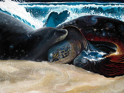 Hawaii Sea Turtle Digital Art - Honu Seal Aloha by Manupupule