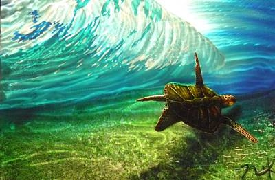 Honu Surf 2 Art Print by Nick Knezic