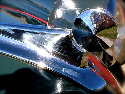 Gold Ford Photograph - Hood Ornament by Pat Exum