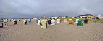 Empty Chairs Photograph - Hooded Beach Chairs On The Beach by Panoramic Images