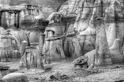 Photograph - Hoodoos Bisti/de-na-zin Wilderness Monochrome by Bob Christopher