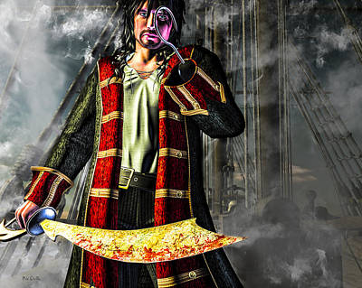 Digital Art - Hook Pirate Extraordinaire by Bob Orsillo