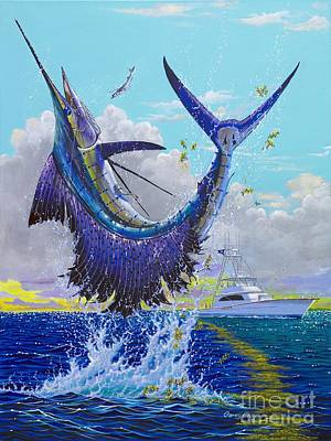 Blue Marlin Painting - Hooked Up Off004 by Carey Chen