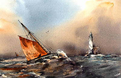 Painting - Hooker Rounding The Fastnet West Cork by Val Byrne