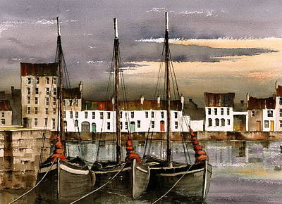 Painting - Hookers At Rest   Galway by Val Byrne