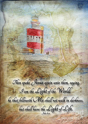 Mixed Media - Hookhead Lighthouse Painting With Verse by Debbie Portwood