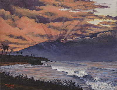 Sun Rays Painting - Hookipa Sunset by Darice Machel McGuire
