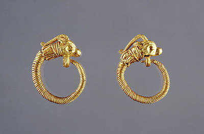 Antelope Drawing - Hoop Earrings With Antelope Head Finials Unknown Alexandria by Litz Collection