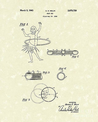 Drawing - Hoop Toy 1963 Patent Art by Prior Art Design