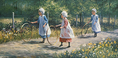 Three Girls Painting - Hooping It Up by Laurie Hein