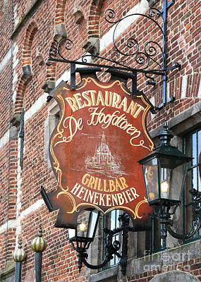 Photograph - Hoorn Restaurant Sign by Carol Groenen