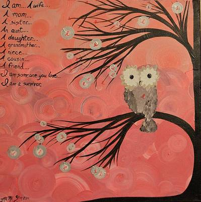 Painting - Hoo's Who Care - Find The Cure - Support Breast Cancer Awareness - Hoolandia #383 by MiMi  Stirn