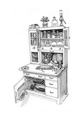 Drawing - Hoosier Kitchen by Jack Pumphrey