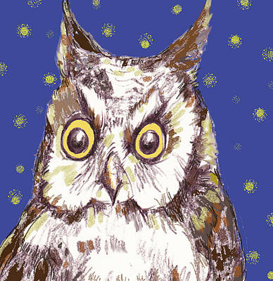 Night Owl Mixed Media - Hoot by Peggy Wilson