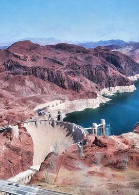 Digital Art - Hoover Dam And Lake Mead by Lori Deiter