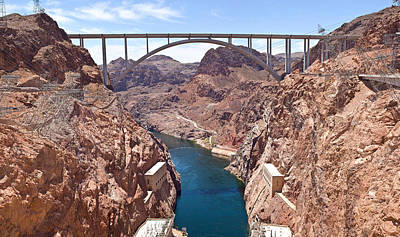 Hoover Dam Canyonland And Bridge Print by Panoramic Images