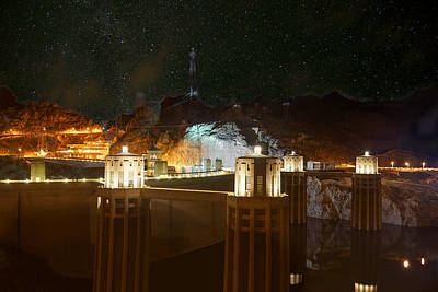 Photograph - Hoover Dam Under Stars by Chris Bordeleau