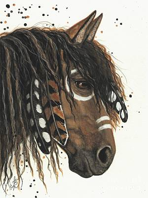 Tri Color Horse Painting - Hopa Majestic Mustang Series 47 by AmyLyn Bihrle