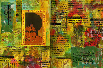 Art Journal Mixed Media - Hope And Belief Love And Laugther by Angela L Walker
