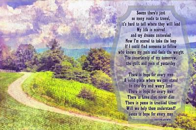 Hope For Every Man Art Print by Michelle Greene Wheeler