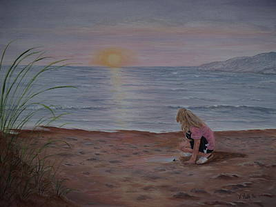 Footprints In The Sand Painting - Hope For Tomorrow by Vicky Path