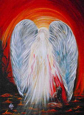 Painting - Hope In Hell - Michael Archangel Series by Yesi Casanova