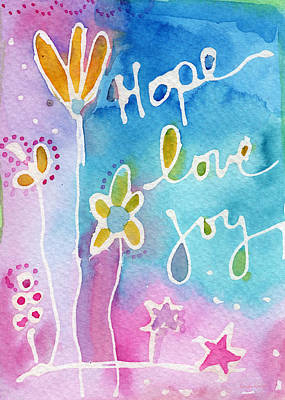 Sky Blue Painting - Hope Love Joy by Linda Woods