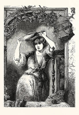 Painted Image Drawing - Hope Painted by Alfred Joseph Woolmer (1805?1892), English