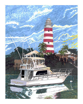 Lighthouse Drawing - Hope Town Light by Jack Pumphrey