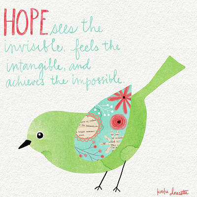 Inspirational Painting - Hope Watercolor Bird by Katie Doucette