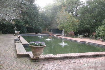 Hopeland Gardens Fountain - Aiken South Carolina Art Print by Kathy Fornal