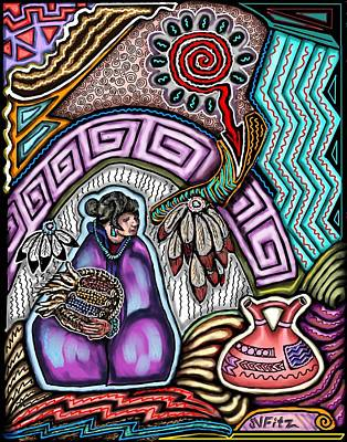 Hopi Drawing - Hopi Corn Festival by John  Fitzgerald