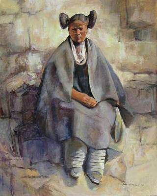 Painting - Hopi Girl Seated by Synnove Pettersen