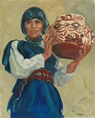 Hopi Indian Painting - Hopi Potter by Virginia  Dusenbury