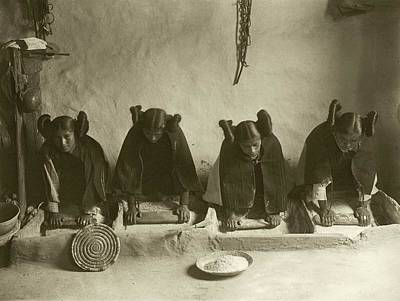 Hopi Women Grinding Grain Art Print by Library Of Congress